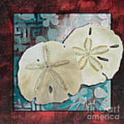 Coastal Decorative Shell Art Original Painting Sand Dollars Asian Influence I By Megan Duncanson Poster