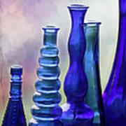 Cobalt Blue Bottles Poster