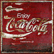 Coca Cola Red Grunge Sign Poster