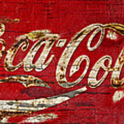 Coca Cola Sign Cracked Paint Poster