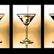 Cocktail Triptych In Gold Poster