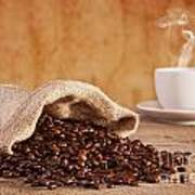 Coffee Beans And Burlap Sack Poster