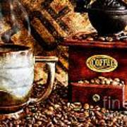Coffee Beans And Grinder Closeup Poster