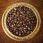 Coffee Beans On Antique Silver Platter Poster