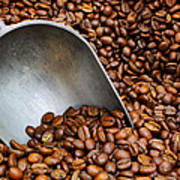 Coffee Beans With Scoop Poster