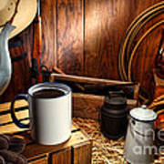 Coffee Break At The Chuck Wagon Poster