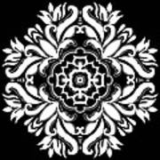 Coffee Flowers 10 Bw Ornate Medallion Poster