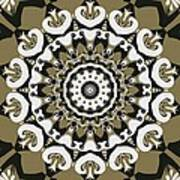 Coffee Flowers 10 Olive Ornate Medallion Poster