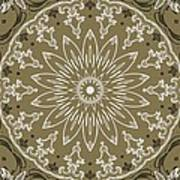 Coffee Flowers 11 Olive Ornate Medallion Poster