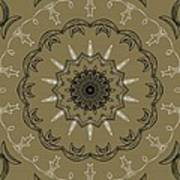 Coffee Flowers 3 Olive Ornate Medallion Poster