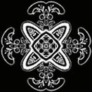 Coffee Flowers 5 Bw Ornate Medallion Poster