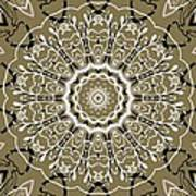 Coffee Flowers 5 Olive Ornate Medallion Poster