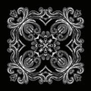 Coffee Flowers 6 Bw Ornate Medallion Poster