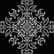 Coffee Flowers 7 Bw Ornate Medallion Poster by Angelina Vick