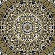 Coffee Flowers 7 Olive Ornate Medallion Poster