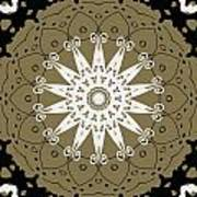 Coffee Flowers 9 Olive Ornate Medallion Poster