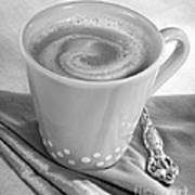 Coffee In Tall Yellow Cup Black And White Poster