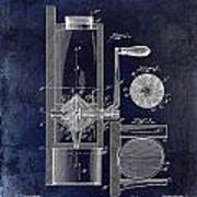 Coffee Mill Patent 1893 Blue Poster
