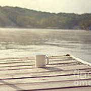 Coffee On The Dock Poster by Kay Pickens