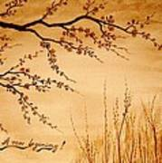 Coffee Painting Cherry Blossoms Poster by Georgeta  Blanaru