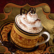 Coffee With Whipped Topping And Chocolates Poster