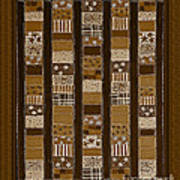 Coin Quilt - Painting - Sepia Patches Poster
