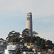 Coit Tower On Telegraph Hill Panorama Poster