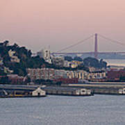 Coit Tower Sits Prominently On Top Of Telegraph Hill In San Francisco Poster