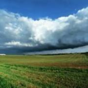 Cold Front Storm Clouds Over Fields Poster