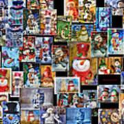 Collage Snowman Horz Photo Art Poster