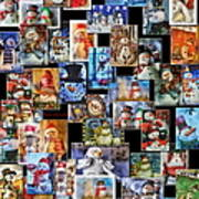 Collage Snowman Vertical Photo Art Poster