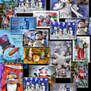 Collage Xmas Cards Vertical Photo Art Poster