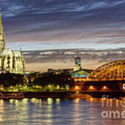 Cologne Cathedral With Rhine Riverside Poster