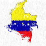 Colombia Painted Flag Map Poster