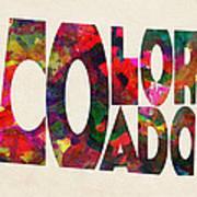 Colorado Typographic Watercolor Map Poster