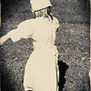 Colonial Girl Playing Poster