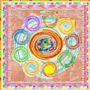 Color Circles Crystal Stones Borders Chakra Energy Healing Poster
