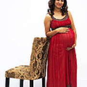 Color Portrait Young Pregnant Spanish Woman Leaning On Chair Poster