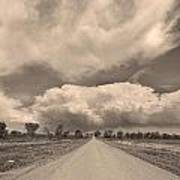 Colorado Country Road Sepia Stormin Skies Poster