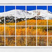 Colorado Rocky Mountain Autumn Pass White Window View  Poster