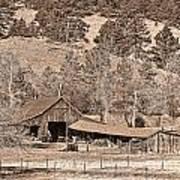 Colorado Rocky Mountain Barn Sepia Poster