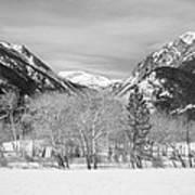 Colorado Rocky Mountain Winter Horseshoe Park Bw Poster