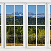 Colorado Rocky Mountains White Window Frame View Poster