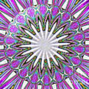 Colored Foil Lily Kaleidoscope Under Glass Poster
