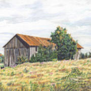 Colored Pencil Barn Poster