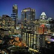 Colorful Austin Skyline At Night Poster