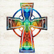Colorful Celtic Cross By Sharon Cummings Poster
