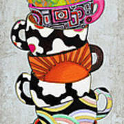Colorful Coffee Cups Mugs Hot Cuppa Stacked I By Romi And Megan Poster by Megan Duncanson