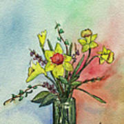 Colorful Daffodil Flowers In A Vase Poster by Prashant Shah
