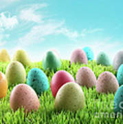 Colorful Easter Eggs In A Field Of Grass Poster by Sandra Cunningham